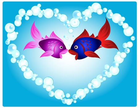 Couple of cartoon fish in love, kissing in a heart shape made of air bubbles, fun valentine's card or other love related occasion. Vettoriali