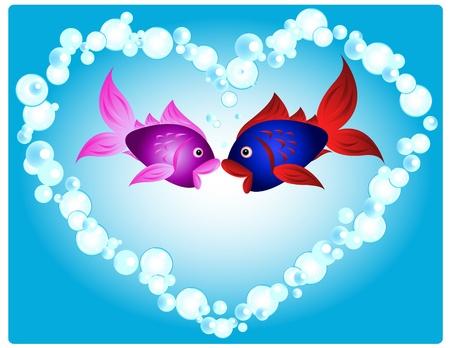 Een paar cartoon vis in de liefde, kussen in een hart vorm gemaakt van luchtbellen, leuke valentijn-kaart of andere liefde gerelateerde gelegenheid. Stock Illustratie