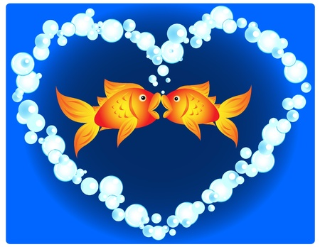 Couple of cartoon goldfish in love, kissing in a heart shape made of air bubbles, fun valentines card or other love related occasion. Vector