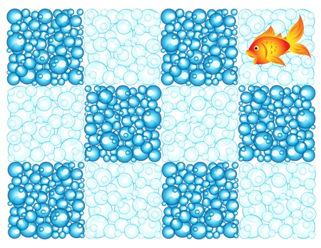 big size: Fun checkerboard pattern made of different darker and light blue bubbles with one goldfish
