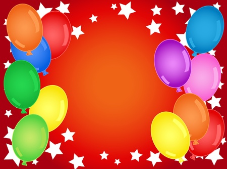 楽しいと大胆な誕生日や星、風船と他のお祝いの背景。  イラスト・ベクター素材