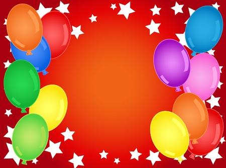 Plezier en vet verjaardag of andere viering achtergrond met sterren en ballonnen.