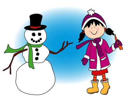 greeting christmas: Little cartoon girl playing out playing in the snow and about to put the snowmans carrot nose during the holidays.