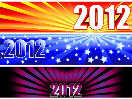 Trio of sunburst banners for the new year 2012 with fun colorful gradients giving completely different options. Stock Vector - 9930162