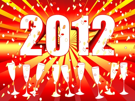 champagne celebration: Fun and festive 2012 New Years Eve celebration background with red orange sunburst and champagne glasses and confettis.