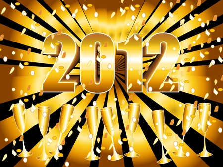 fin de a�o: Fondo de celebraci�n de los Nochevieja divertida y festiva 2012 con oro sunburst, copas de champagne y confeti.