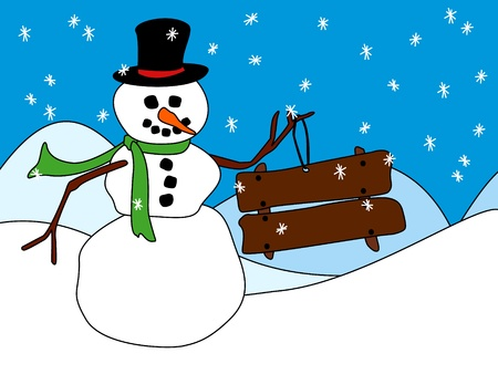 Fun cartoon snowman holding a blank wood sign, ready for your holiday wishes or other winter season message, perfect for a card.