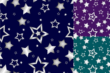 star: Beautiful seamless shiny silver star pattern on Christmas inspired color background with dark blue, purple and seafoam green options, perfect card or wrapping paper.