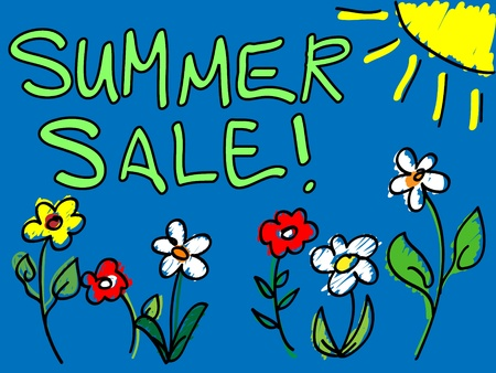 Fun hand drawn summer sale sign or placard doodle with colorful flowers and sun over bluw background. Vector