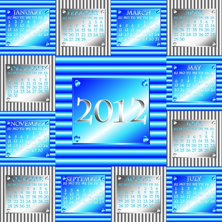 either: Complete 2012 calendar with industrial corrugated metal design with plate indicating the year, month and days, either horizontal in electric blue or vertical in silver.