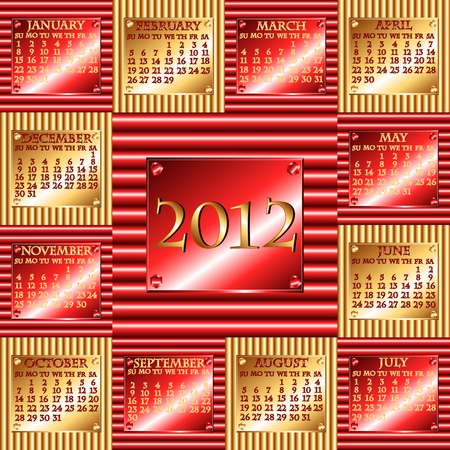 either: Complete 2012 calendar with industrial corrugated metal design with plate indicating the year, month and days, either horizontal in red or vertical in gold.