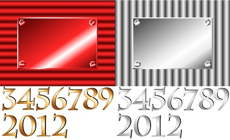 number plate: Vertical or horizontal corrugated metal with plate to put the 2012 new year or any other number combination. Illustration