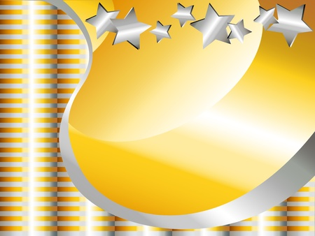 metalic: Beautiful gold and silver celebration background, with stars, waves and bars, can be used for Christmas, birthday or other.