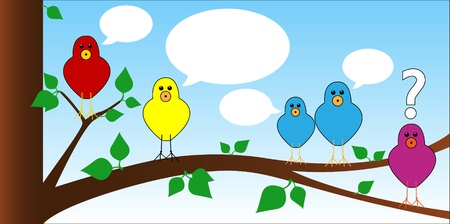 Cute and fun series of cartoon birds perched on a tree chating with speech bubbles ready for some text, last bird has a question mark. Vector