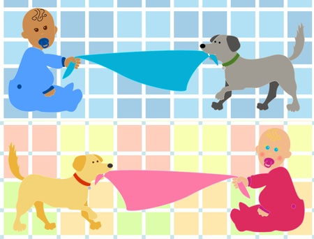 Cute cartoon babies, black boy in blue or caucasian girl in pink, holding their blankie pulled by their pet dogs making room for your text over fun colorful plaid background