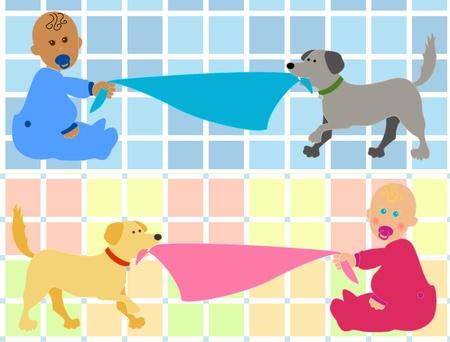 dientes caricatura: Linda caricatura beb�s, negro chico chica azul o cauc�sica en rosa, sosteniendo su blankie tirado por sus perros mascotas dando cabida a su texto m�s divertido fondo plaid multicolor