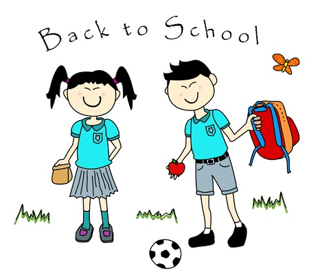 Cute couple of cartoon asian kids going back to school with lunch and backpack, each in their uniform. Vector
