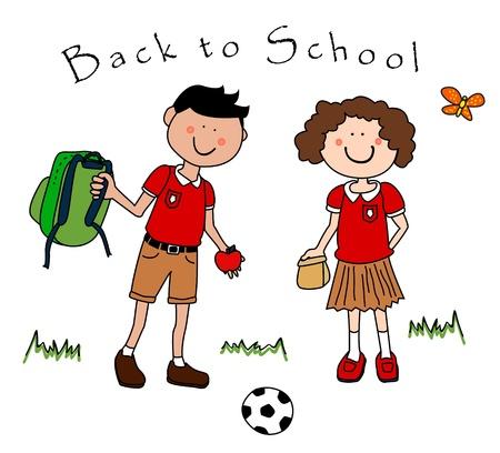 school girl uniform: Coppia cute di cartoon latino, mediterranei o indoeuropeo bambini tornare a scuola con pranzo e zaino, ciascuno in loro uniforme.