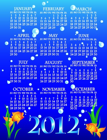 week: Fun and colorful complete 2012 goldfish calendar with algae and bubbles over deep blue water.