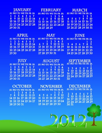 week: Simple and beautiful sky with grass and tree landscape background with complete year 2012 calendar.