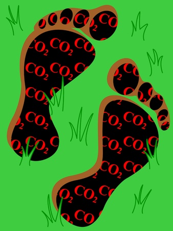 Carbon footprint: large and deep feet footprint in black with CO2, carbon dioxide, written in red as a warning for danger, in the grass, reprensenting the earth.