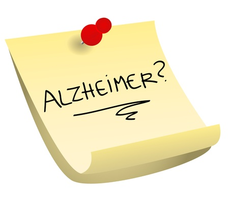 Memory loss concept: alzheimer with a question mark on a yellow sticky note with red tack.