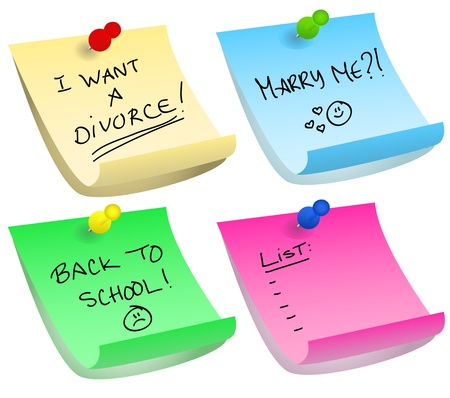 mariage: Various color options of push pins and sticky notes with different messages about divorce, proposal, back to school and simple list.
