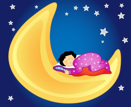 Fun and peaceful: little girl sleeping on the moon in the sky amongst the stars, perfect for a kids room. Illustration
