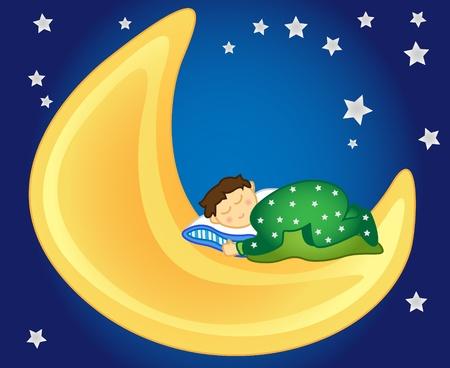 Divertido y pacífica: niña durmiendo en la Luna en el cielo entre las estrellas, perfectos para una habitación infantil.