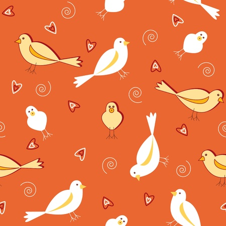 Seamless pattern of white and yellow birds with heart shapes on burnt orange vintage color. Vector