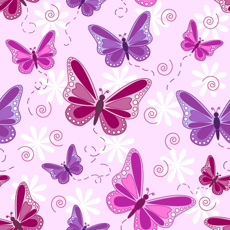 pinks: Seamless pattern of flying butterflies in shades of pinks and purples with white flowers over pale pink background. Illustration