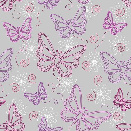 Naadloos patroon van vliegende vlinders in de kleuren roze en paars met witte bloemen over grijze achtergrond. Stock Illustratie