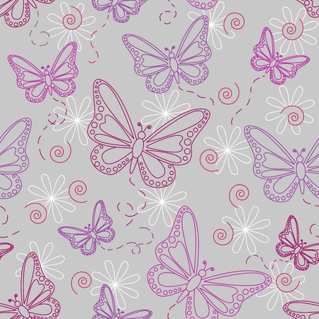 Seamless pattern of flying butterflies in shades of pinks and purples with white flowers over grey background.