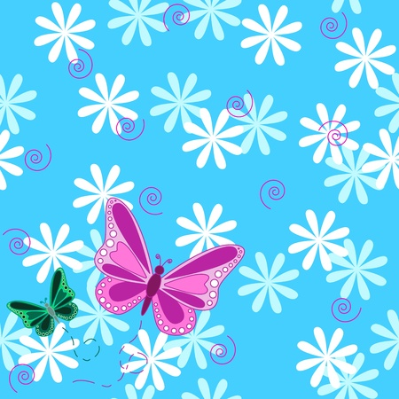 Seamless pattern of pink an green flying butterflies with pastel color flowers over sky blue background.
