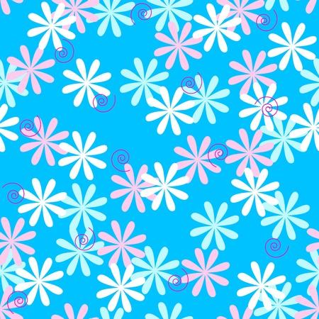 Nahtlose Muster von Pastelltönen Blumen über Himmel blauem Hintergrund. Standard-Bild - 10179176