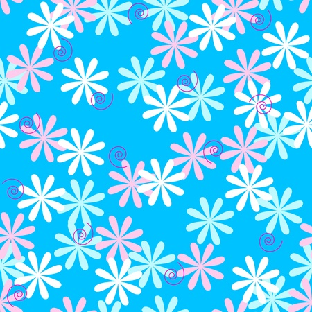 Seamless pattern of pastel color flowers over sky blue background.