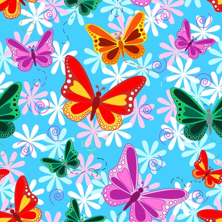 Seamless pattern of colorful flying butterflies with pastel color flowers over sky blue background.