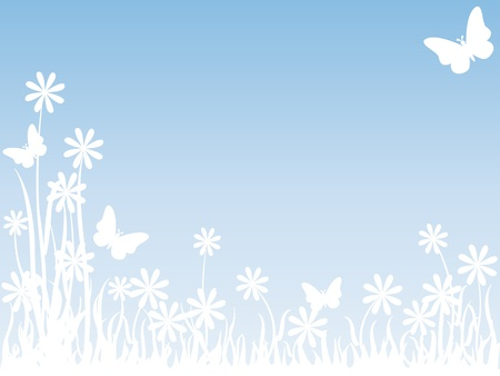 Beautiful subtle background of a meadow with white silhouettes of flowers, butterflies and tall grass over light sky blue, perfect for card or others with copy space.