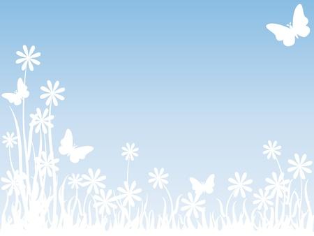 campo de margaritas: Hermoso fondo sutil de una pradera con siluetas blancas de flores, mariposas y pasto alto sobre cielo azul claro, perfecto para tarjeta u otros con espacio de copia.  Vectores