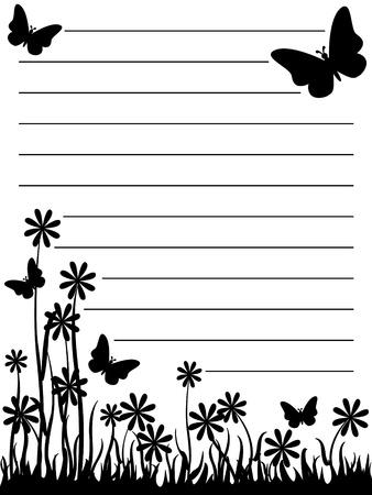 かわいい黒と白の蝶と花メモ帳。  イラスト・ベクター素材
