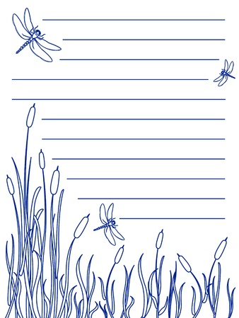 Design for a note pad of dragonflies flying about over a marsh with cattails and tall grass all in blue ink color, great nature scene.