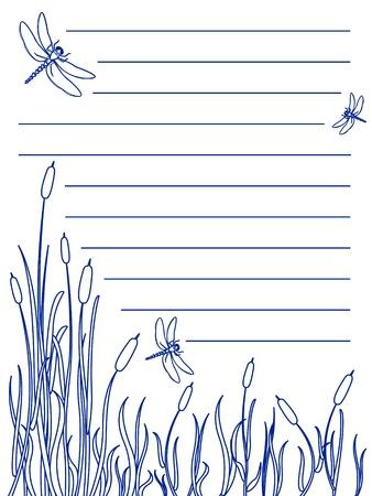 hoog gras: Ontwerp voor een notitieblok van libellen vliegen over meer dan een moeras met lisdodde en hoog gras allemaal in blauwe inkt kleur, grote natuurlijke scène.