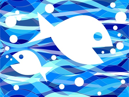 Fun graphic fish with bubbles swimming on a seamless busy, wavy background with various shades of blue and white.