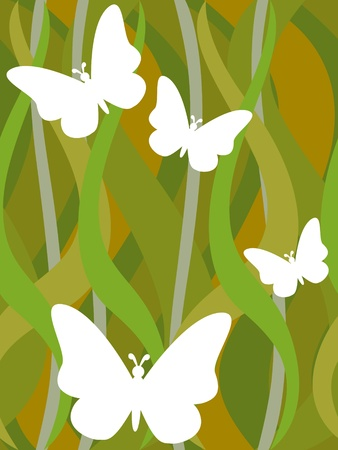 White butterfly silhouettes on seamless dark green grass wavy pattern background.