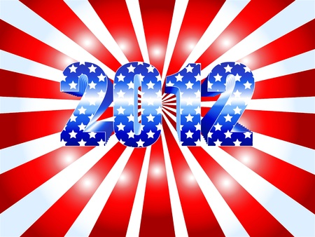 Background for the American 2012 presidential election with red ans white sunburst and numbers in blue with stars as the USA flag. Stock Vector - 10348884