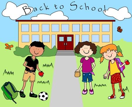 school days: Fun happy cartoon kids going back to school. Illustration