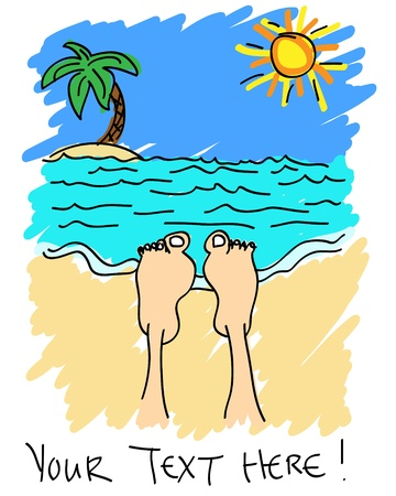 toe: Cute and fun hand painted cartoon of a persons feet as they relax on a tropical sand beach on a beautiful day during their vacations.