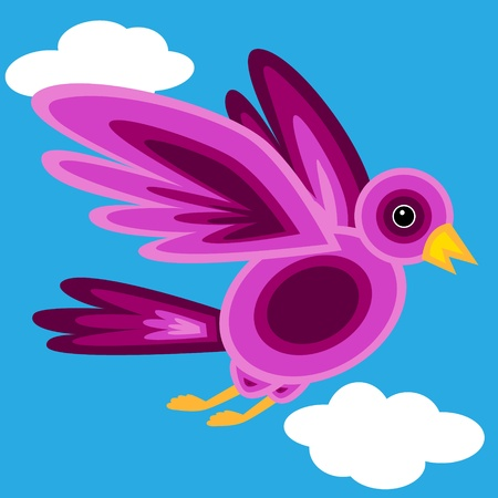 Cute and fun graphic bird made of colorful shapes in pink and purple shades over blue sky with white clouds. Stock Vector - 10529223