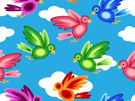 Seamless pattern of graphic colorful birds made of shapes flying in blue sky with white clouds, perfect kids print. Stock Vector - 10529228