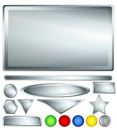 rectangle button: Stainless steel or brushed nickle silver color web background, bars, buttons and shapes with fun red, greedn, blue, yellow and one grey glossy buttons for added variability.